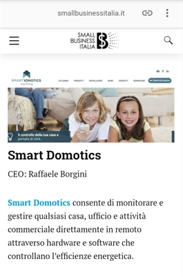 Ranking Small Business Italia: Smart Domotics è una delle 100 migliori start up in Italia